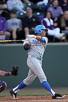 Kevin Williams #5 of the UCLA Bruins bats against the TCU Horned Frogs at the Los Angeles super regionals at Jackie Robinson Stadium on June 9, 2012 in Los Angeles,California. UCLA defeated TCU 4-1.(Larry Goren/Four Seam Images)
