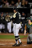UCF Knights Nick Romano (17) bats during a game against the Siena Saints on February 14, 2020 at John Euliano Park in Orlando, Florida.  UCF defeated Siena 2-1.  (Mike Janes/Four Seam Images)