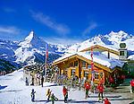Switzerland, Valais, Zermatt, Ski hut Sunnegga and Matterhorn Mountain (4.478 m)