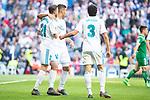 Real Madrid Borja Mayoral, Carlos Henrique Casemiro and Jesus Vallejo celebrating a goal during La Liga match between Real Madrid and Leganes at Santiago Bernabeu Stadium in Madrid, Spain. April 28, 2018. (ALTERPHOTOS/Borja B.Hojas)