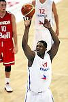 Kevin Seraphin of France. France v Canada, friendly basketball match in preparation for the European championships. Palais Des Sports, Toulouse, France, 27th July 2011.