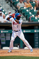 Buffalo Bisons center fielder Anthony Alford (7) at bat during a game against the Pawtucket Red Sox on June 28, 2018 at Coca-Cola Field in Buffalo, New York.  Buffalo defeated Pawtucket 8-1.  (Mike Janes/Four Seam Images)