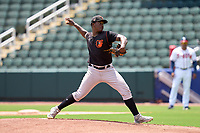 FCL Orioles Orange pitcher Juan De Los Santos (31) during a game against the FCL Braves on July 22, 2021 at the CoolToday Park in North Port, Florida.  (Mike Janes/Four Seam Images)