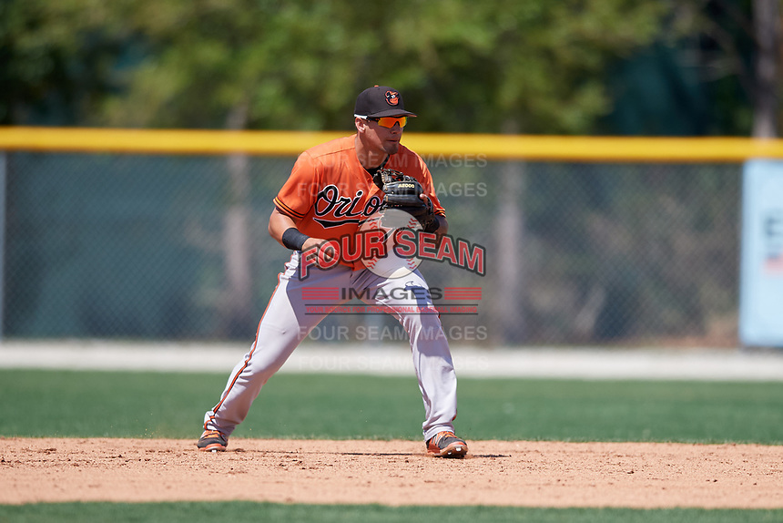 Baltimore Orioles Alejandro Juvier (75) during a minor league Spring Training game against the Tampa Bay Rays on March 29, 2017 at the Buck O'Neil Baseball Complex in Sarasota, Florida.  (Mike Janes/Four Seam Images)