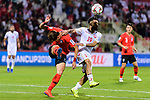 Hwang Uijo of South Korea (L) fights for the ball with Komail Hasan Alaswad of Bahrain (R) during the AFC Asian Cup UAE 2019 Round of 16 match between South Korea (KOR) and Bahrain (BHR) at Rashid Stadium on 22 January 2019 in Dubai, United Arab Emirates. Photo by Marcio Rodrigo Machado / Power Sport Images