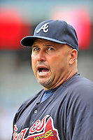 25 September 2011: Atlanta Braves Manager Fredi Gonzalez watches batting practice prior to a game against the Washington Nationals at Nationals Park in Washington, DC. The Nationals shut out the Braves 3-0 to take the rubber match third game of their 3-game series - the Nationals' final home game for the 2011 season. Mandatory Credit: Ed Wolfstein Photo