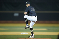 Wake Forest Demon Deacons relief pitcher Cole McNamee (40) in action against the Virginia Cavaliers at David F. Couch Ballpark on May 18, 2018 in  Winston-Salem, North Carolina.  The Cavaliers defeated the Demon Deacons 15-3.  (Brian Westerholt/Four Seam Images)