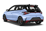 Car pictures of rear three quarter view of 2021 Hyundai i20 N-Performance 5 Door Hatchback Angular Rear