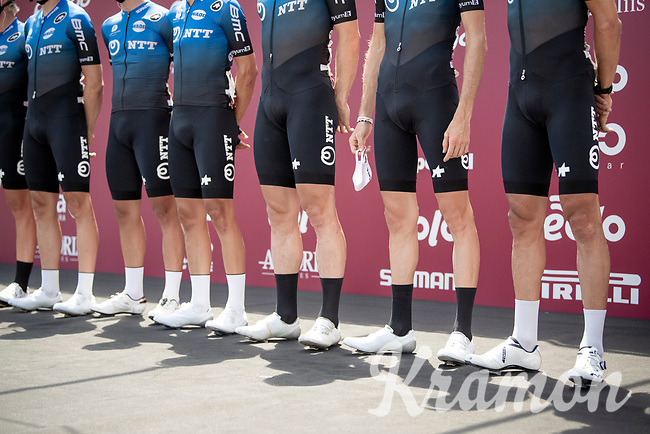 the pre-race line up of NTT Pro Cycling (including face mask)<br /> <br /> 14th Strade Bianche 2020<br /> Siena > Siena: 184km (ITALY)<br /> <br /> delayed 2020 (summer!) edition because of the Covid19 pandemic > 1st post-Covid19 World Tour race after all races worldwide were cancelled in march 2020 by the UCI