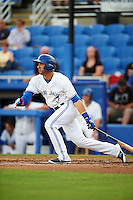 Dunedin Blue Jays third baseman Jason Leblebijian (26) at bat during a game against the Palm Beach Cardinals on April 15, 2016 at Florida Auto Exchange Stadium in Dunedin, Florida.  Dunedin defeated Palm Beach 8-7 in ten innings.  (Mike Janes/Four Seam Images)