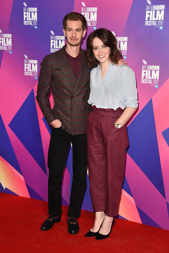 """Andrew Garfield and Claire Foy<br /> at the photocall for the London Film Festival 2017 screening of """"Breathe"""" at the Mayfair Hotel, London<br /> <br /> <br /> ©Ash Knotek  D3317  04/10/2017"""