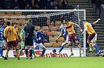 Motherwell v St Johnstone…..30.11.19   Fir Park   SPFL<br />Peter Hartley scores to make it 2-0<br />Picture by Graeme Hart.<br />Copyright Perthshire Picture Agency<br />Tel: 01738 623350  Mobile: 07990 594431