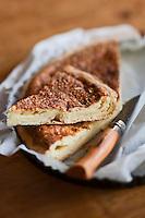 Europe/France/Rhône-Alpes/74/Haute Savoie/Morzine: Tarte fine au fromage d'Abondance recette de   Frédéric Béchu du Restaurant: La Grange