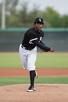 AZL White Sox starting pitcher Brayan Herrera (50) follows through on his delivery during an Arizona League game against the AZL Athletics at Camelback Ranch on July 15, 2018 in Glendale, Arizona. The AZL White Sox defeated the AZL Athletics 2-1. (Zachary Lucy/Four Seam Images)