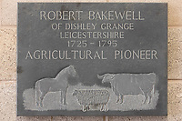 "18.9.2020 Plaque  in Melton Mowbray market for Robert Bakewell ""Agricultural Pioneer""<br /> ©Tim Scrivener Photographer 07850 303986<br />      ....Covering Agriculture In The UK."