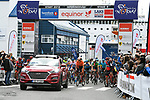The start of Stage 3 of the 2018 Artic Race of Norway, running 194km from Honningsvg to Hammerfest, Norway. 18th August 2018. <br /> <br /> Picture: ASO/Pauline Ballet | Cyclefile<br /> All photos usage must carry mandatory copyright credit (© Cyclefile | ASO/Pauline Ballet)