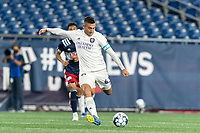 FOXBOROUGH, MA - AUGUST 7: Mateo Rodas #63 of Orlando City B takes a shot during a game between Orlando City B and New England Revolution II at Gillette Stadium on August 7, 2020 in Foxborough, Massachusetts.