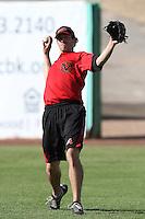 Bo Schultz #25 of the Visalia Rawhide before a game against the High Desert Mavericks at Stater Bros. Stadium on May 15, 2012 in Adelanto,California. (Larry Goren/Four Seam Images)