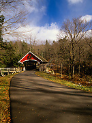 Franconia Notch State Park - Flume Covered Bridge in Lincoln, New Hampshire. This covered bridge crosses the Pemigewasset River.