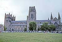 Durham: Durham Cathedral, North Elevation. Chapel at East end. Photo '90.