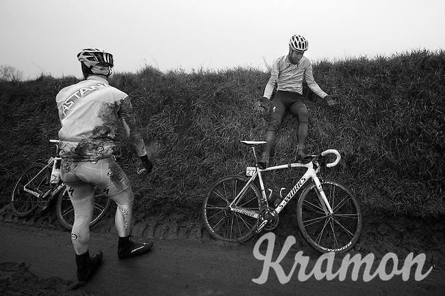 """Dwars Door Vlaanderen 2013.Dmitriy Muravyev (KAZ) doesn't quite grasps what just happened """"How did I get up here?"""""""