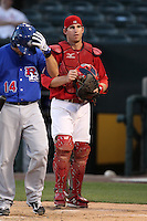 Memphis Redbirds catcher Bryan Anderson #16 during a game versus the Round Rock Express at Autozone Park on April 29, 2011 in Memphis, Tennessee.  Round Rock defeated Memphis by the score of 5-4 in 13 innings.  Photo By Mike Janes/Four Seam Images