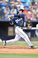 Asheville Tourists shortstop Terrin Vavra (6) swings at a pitch during a game against the West Virginia Power at McCormick Field on April 18, 2019 in Asheville, North Carolina. The Power defeated the Tourists 12-7. (Tony Farlow/Four Seam Images)