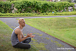Pontus Lidberg watches his dance company perform in the outdoor garden the Rockefeller Brothers Funds' Pocantico Center, August 8, 2014