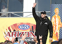 Feb. 24, 2013; Chandler, AZ, USA; NHRA top fuel dragster driver Larry Dixon during the Arizona Nationals at Firebird International Raceway. Mandatory Credit: Mark J. Rebilas-