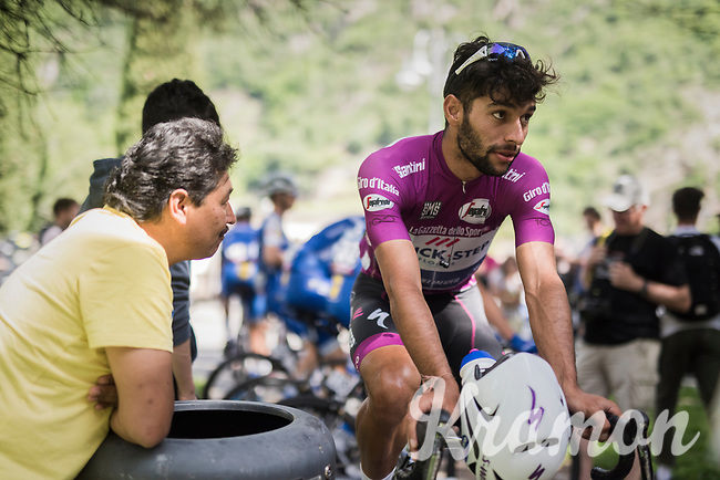 Maglia Ciclamino / points leader Fernando Gaviria (COL/Quick-Step Floors) warming up on the rollers pre-race<br /> <br /> Stage 17: Tirano › Canaze (219km)<br /> 100th Giro d'Italia 2017