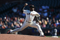SAN FRANCISCO, CA - AUGUST 31:  Santiago Casilla #46 of the San Francisco Giants pitches against the Arizona Diamondbacks during the game at AT&T Park on Wednesday, August 31, 2016 in San Francisco, California. Photo by Brad Mangin