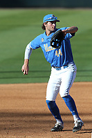 Kyle Karros (44) of the UCLA Bruins in the field during a game against the Cal State Fullerton Titans at Jackie Robinson Stadium on March 6, 2021 in Los Angeles, California. UCLA defeated Cal State Fullerton, 6-1. (Larry Goren/Four Seam Images)