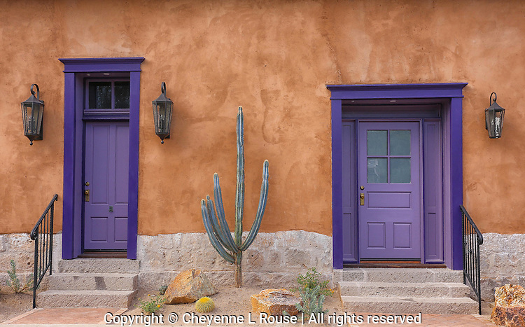 Perfect Purple Doors - Historic Adobes - Tucson Arizona