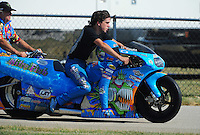 Jul, 9, 2011; Joliet, IL, USA: NHRA pro stock motorcycle rider L.E. Tonglet during qualifying for the Route 66 Nationals at Route 66 Raceway. Mandatory Credit: Mark J. Rebilas-