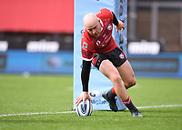 30th August 2020; Kingsholm Stadium, Gloucester, Gloucestershire, England; English Premiership Rugby, Gloucester versus Leicester Tigers; Joe Simpson of Gloucester scores the first try of the match 5-3