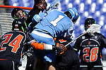 Face-Off Classic: Attackmen Marcus Holman #1 of the North Carolina Tar Heels gets stood up in attempt to score on the Tigers goal during the Princeton v North Carolina mens lacrosse game at M&T Bank Stadium on March 10, 2012 in Baltimore, Maryland. (Ryan Lasek/Eclipse Sportswire)