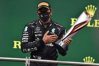 15th November 2020; Istanbul Park, Istanbul, Turkey; FIA Formula One World Championship 2020, Grand Prix of Turkey, Race Day;  44 Lewis Hamilton GBR, Mercedes-AMG Petronas Formula One Team with his winners trophy
