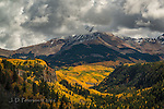 La Plata Mountains above The Mancos River Canyon ©2016 James D Peterson.  This southwestern Colorado mountain range has vast stretches of aspens, and they contrast nicely with the remnants of an early autumn storm.