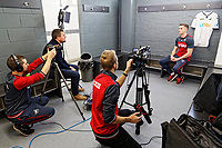 Andy King speaks to the club's media team during the Swansea Unveiling of New Signings Andre Ayew and Andy King at The Fairwood Training Ground, Swansea, Wales, UK. Thursday 01 February 2018
