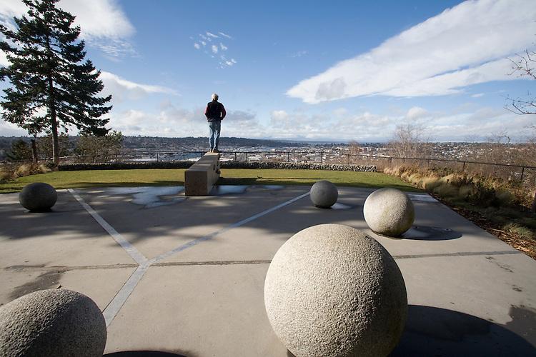 Fremont Peak Park, Seattle, Fremont, neighborhood, View of Ballard from Phinney Ridge, Washington State, Pacific Northwest, USA,