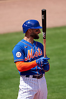 New York Mets Kevin Pillar (11) bats during a Major League Spring Training game against the St. Louis Cardinals on March 19, 2021 at Clover Park in St. Lucie, Florida.  (Mike Janes/Four Seam Images)