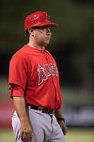AZL Angels manager Jack Santora (5) during an Arizona League game against the AZL Athletics at Tempe Diablo Stadium on June 26, 2018 in Tempe, Arizona. The AZL Athletics defeated the AZL Angels 7-1. (Zachary Lucy/Four Seam Images)