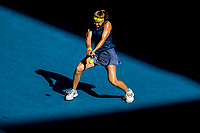 18th February 2021, Melbourne, Victoria, Australia; Karolina Muchova of the Czech Republic returns the ball during the semifinals of the 2021 Australian Open on February 18 2021, at Melbourne Park in Melbourne, Australia.