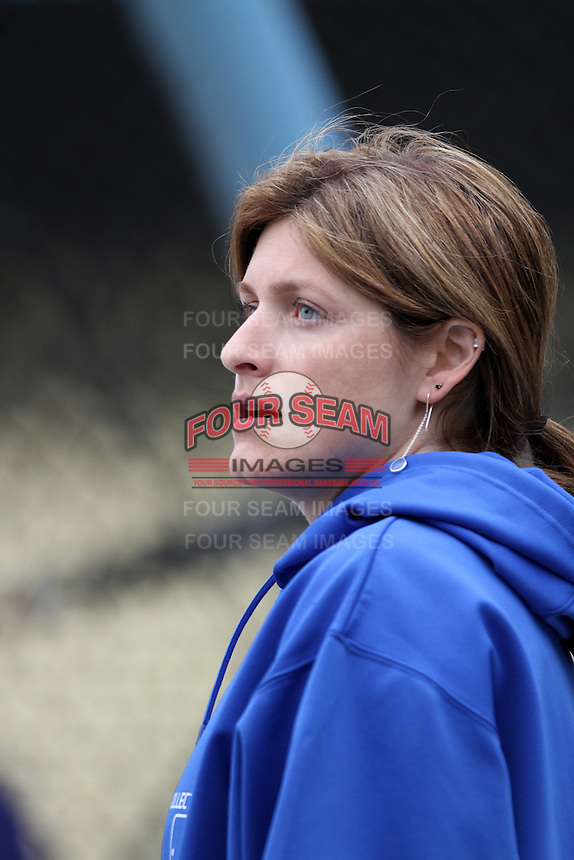 Los Angeles Dodgers Head Trainer Sue Falsone before a game against the Atlanta Braves at Dodger Stadium on April 24, 2012 in Los Angeles,California. Los Angeles defeated Baltimore 6-3.(Larry Goren/Four Seam Images)