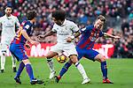 FC Barcelona's Sergi Roberto , Ivan Rakitic, Real Madrid's Marcelo Vieira during spanish La Liga match between Futbol Club Barcelona and Real Madrid  at Camp Nou Stadium in Barcelona , Spain. Decembe r03, 2016. (ALTERPHOTOS/Rodrigo Jimenez)