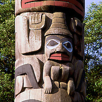Haida Totem Pole at Museum of Anthropology, University of British Columbia (UBC), Vancouver, BC, British Columbia, Canada - Close Up Detail