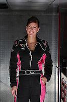Feb. 15, 2013; Pomona, CA, USA; NHRA top fuel dragster driver Leah Pruett poses for a portrait during qualifying for the Winternationals at Auto Club Raceway at Pomona. Mandatory Credit: Mark J. Rebilas-