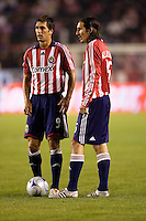 Chivas USA's Ante Razov (l) and Sacha Kljestan (r). The Houston Dynamo and Chivas USA played to a 1-1 tie at Home Depot Center stadium in Carson, California on Saturday October 25, 2008. Photo by Michael Janosz/isiphotos.com