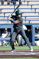 Michigan State catcher Gabe Sotres (11) at bat against the Michigan Wolverines on March 21, 2021 in NCAA baseball action at Ray Fisher Stadium in Ann Arbor, Michigan. Michigan scored 8 runs in the bottom of the ninth inning to defeat the Spartans 8-7. (Andrew Woolley/Four Seam Images)