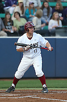Joe Christian (11) of the Loyola Marymount Lions bats during a game against the TCU Horned Frogs at Page Stadium on March 16, 2015 in Los Angeles, California. TCU defeated Loyola, 6-2. (Larry Goren/Four Seam Images)